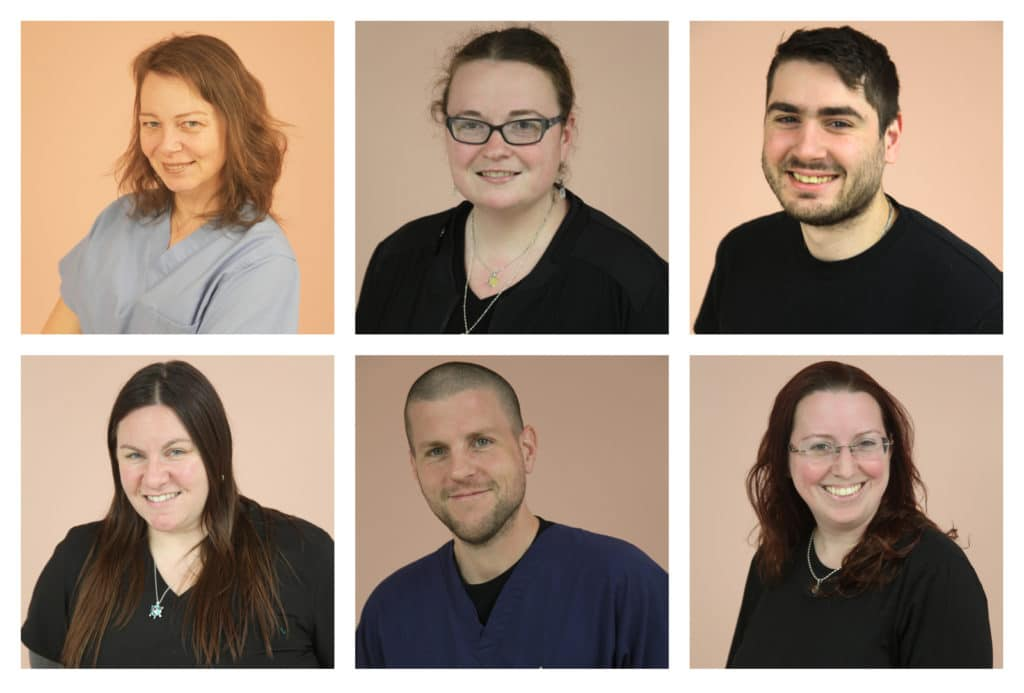 A grid of six smiling staff member head shots